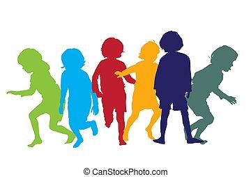 jouer, 5, enfants, silhouettes
