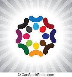 jouer, aussi, amusement, employé, ouvriers, compagnie, brainstorming(meeting)-, gens, réunion, avoir, vecteur, enfants, &, diversité, penser réservoir, graphic., boîte, union, gosses, unité, cadres, illustration, représenter, ceci