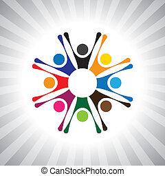 jouer, aussi, amusement, simple, célébrations, gens, avoir, fête, fête, vecteur, enfants, graphic., animé, boîte, réunion, excité, bonne humeur, gosses, time-, illustration, gens, célébrer, représenter, ceci