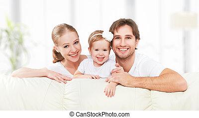jouer, bébé, heureux, père, enfant, famille, fille, sofa, mère, maison, rire
