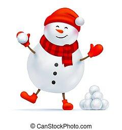 jouer, bonhomme de neige, heureux, boule de neige, game.