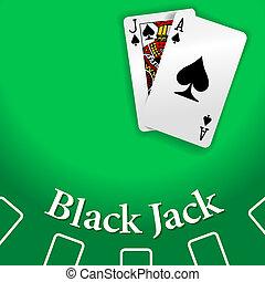 jouer, cric noir, casino, table, cartes