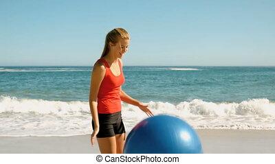 jouer, elle, femme, fitness, bal