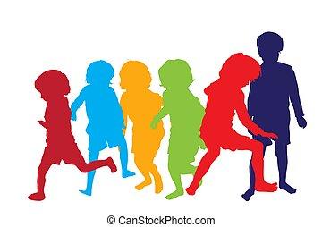 jouer, enfants, 2, silhouettes