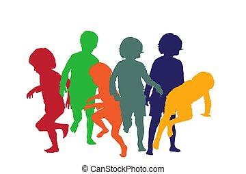 jouer, enfants, 4, silhouettes