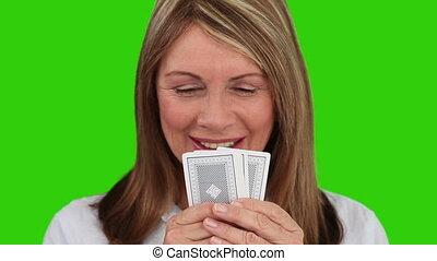 jouer, femme âgée, cartes