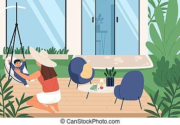 jouer, femme, arrière-cour, vecteur, joyeux, maison été, temps famille, dépenser, mère, plat, ensemble, weekend., peu, maternité, fils, illustration., extérieur, apprécier, heureux