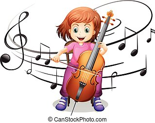 jouer, fille seul, violoncelle