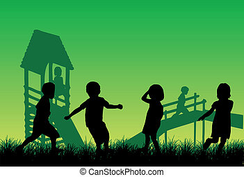jouer, heureux, vecteur, enfants, travail