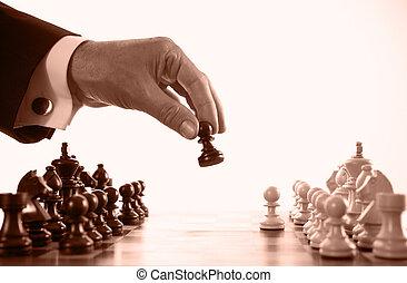 jouer, homme affaires, jeu, sépia, échecs, tonalité