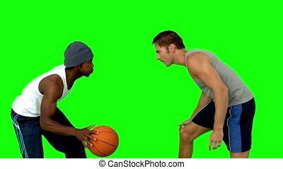 jouer, hommes, basket-ball