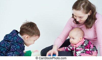 jouer, mère, enfants, métrage