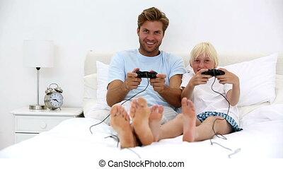 jouer, père, vidéo, fils, jeux