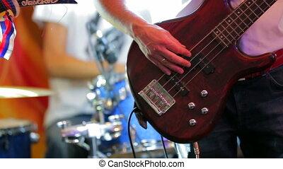 jouer, professionnel, bande, musique, musicien, guitare