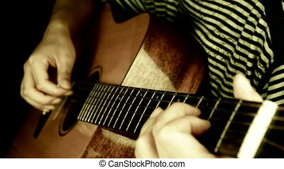 jouer, retro, guitare, style., raclement