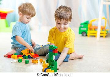 jouer, salle, enfants