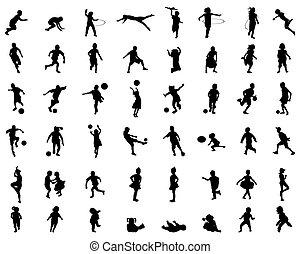 jouer, silhouettes, enfants