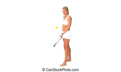jouer, vêtements de sport, tennis, femme