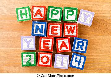 jouet, année, nouveau, 2014, bloc, heureux