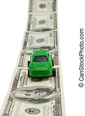 jouet, argent, isolé, arrière-plan., voiture verte, blanc, route