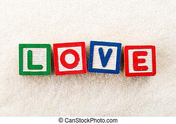 jouet bois, amour, bloc