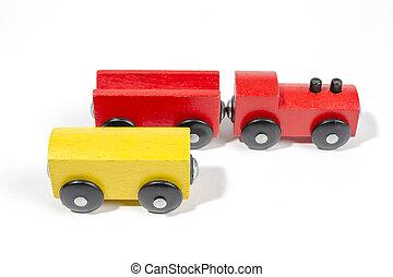 jouet, bois, enfants, locomotive, chariots