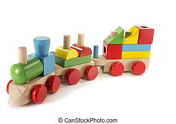 jouet, bois, fait, train