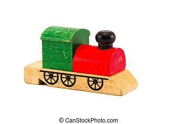 jouet bois, isolé, locomotive