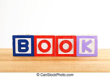 jouet bois, livre, bloc