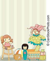 jouet, clown, fond, poupées