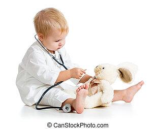 jouet, docteur, habillé, sur, enfant, blanc, adorable, jouer