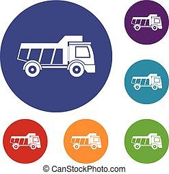 jouet, ensemble, camion, icônes