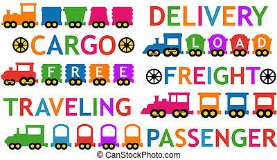 jouet, ensemble, isolé, coloré, trains