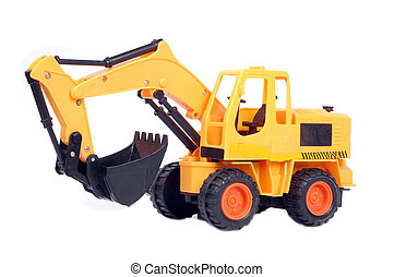jouet, excavateur, plastique