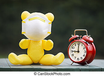 jouet, horloge, masque, urgence, reveil, lockdown, protection, état, ours, concept