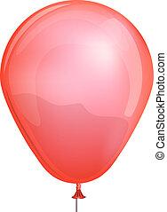 jouet, illustration., balloon, isolé, vecteur, fond, blanc rouge