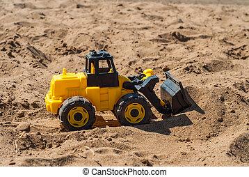 jouet, jaune, excavateur