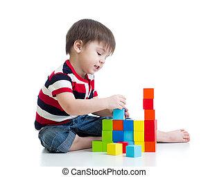 jouet, jouer, gosse, isolé, blocs