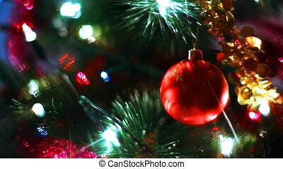 jouet, lumière, arbre, balle, verre, rayons, clignotant, guirlandes, noël, reflète