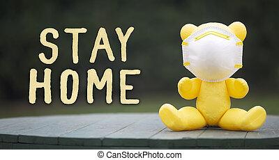 jouet, maison, quarantaine, social, distancing, coronavirus, pandémie, séjour, ours, masque, concept
