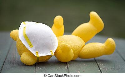 jouet, mensonge, protection, covid-19, concept, masque, coronavirus, épidémie