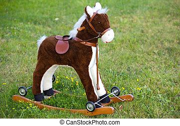 jouet, petit, cheval bois
