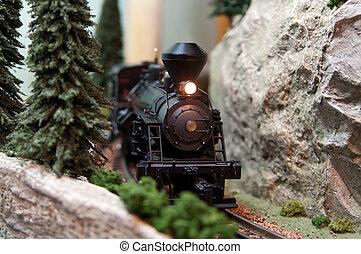 jouet, piste, train, locomotive
