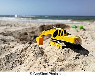 jouet plastique, creuser, trous, excavateur, plage, enfant