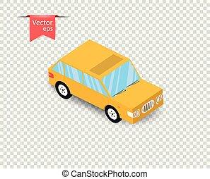 jouet, simple, voiture, isolé, jaune, shadow., arrière-plan., vecteur, illustration, transparent