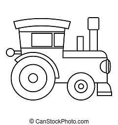 jouet, style, train, icône, locomotive, contour