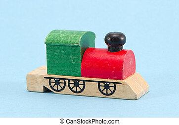 jouet, train bois, fond, azur, locomotive