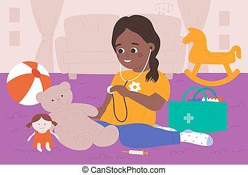jouet, traiter, jouer, ours, gosse, teddy, girl, docteur, intérieur, maison, stéthoscope