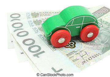 jouet, vieux, argent, arrière-plan vert, voiture, blanc