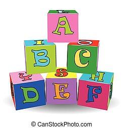 jouets, coloré, lettre, cubes